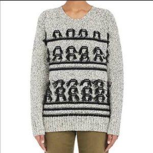 Current Elliot Jacquard Fringe Wool Knit Sweater